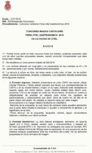"""Bases concurso cartelería """"Feria Utiel Gastronómica 2016"""""""