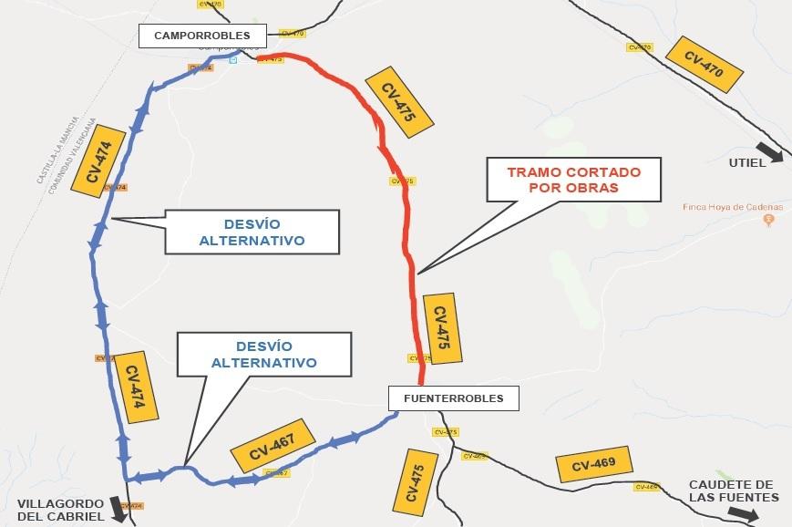 La Diputació corta la CV-475 entre Fuenterrobles y Camporrobles para mejorar la accesibilidad al municipio