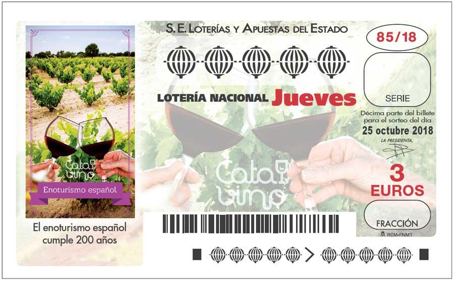 Loterías y Apuestas del Estado dedica el décimo de Lotería Nacional del 25 de octubre de 2018 a los dos siglos de existencia del enoturismo en España.