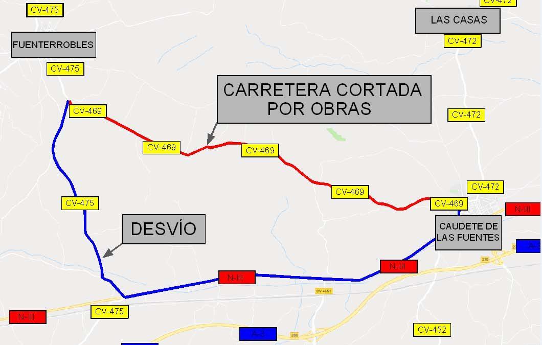 La carretera entre Fuenterrobles y Caudete de las Fuentes se cortará a partir de este miércoles por obras de mejora