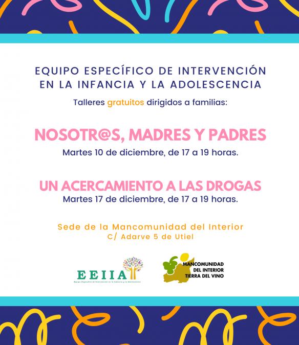 El equipo específico de intervención en la infancia y la adolescencia ofrece dos talleres gratuitos dirigidos a familias