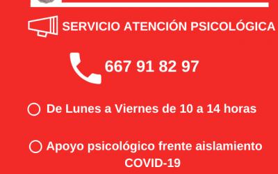 Servicios sociales de Utiel habilita un teléfono de atención psicológica frente al aislamiento
