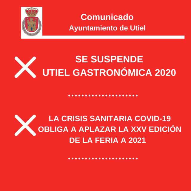 Se suspende la feria Utiel Gastrómica 2020