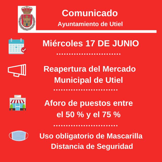El Mercado Municipal de Utiel reabre mañana, 17 de Junio