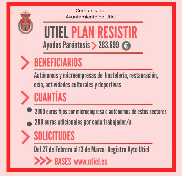 Autónomos y microempresas de Utiel podrán solicitar las ayudas del Plan Resistir a partir del 27 de febrero