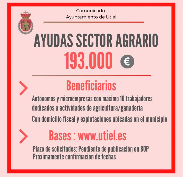 Utiel destina 193.000 euros en ayudas directas para agricultores y ganaderos profesionales