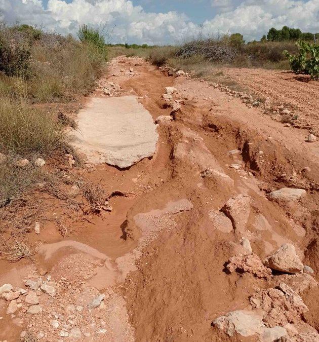 La fuerte tormenta del pasado miércoles daña los caminos rurales al inicio de la vendimia
